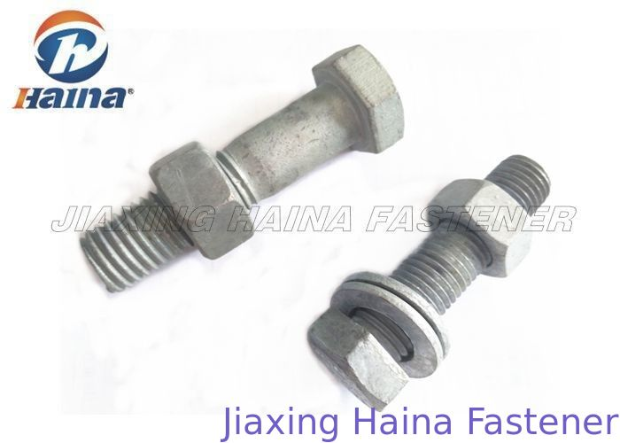 Right Thread Hex Head Bolts Zinc Plated Gray Color M16 * 85 For Chemical Industry