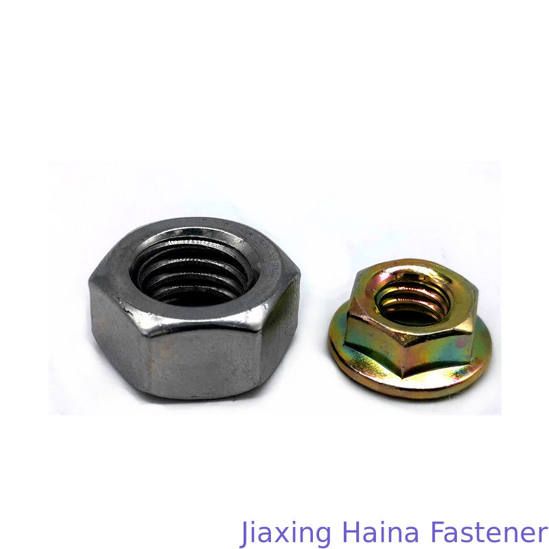 8 Grade Carbon Steel Color Zinc Plated Hex Head Nuts With Flange , Free Sample