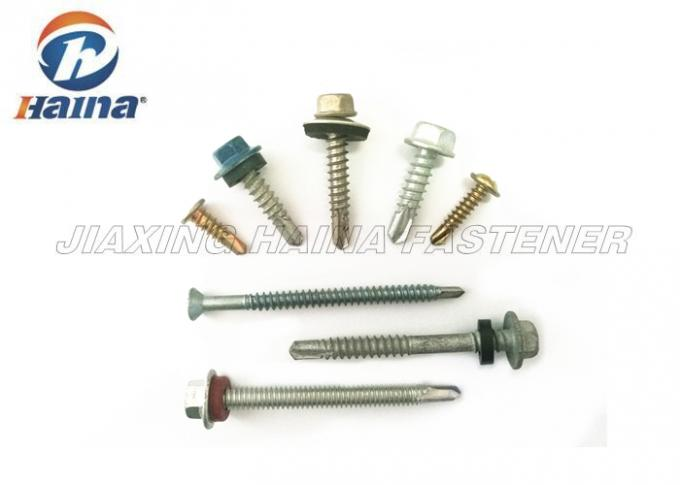 Carbon Steel Painted Self Drilling Hex Head Screws For Steel Tile Fixing OEM / ODM