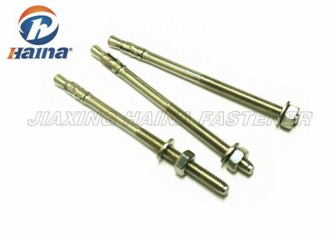 Stainless Steel Concrete Wedge Anchors A2 A4 Machine Thread With Nut / Washer