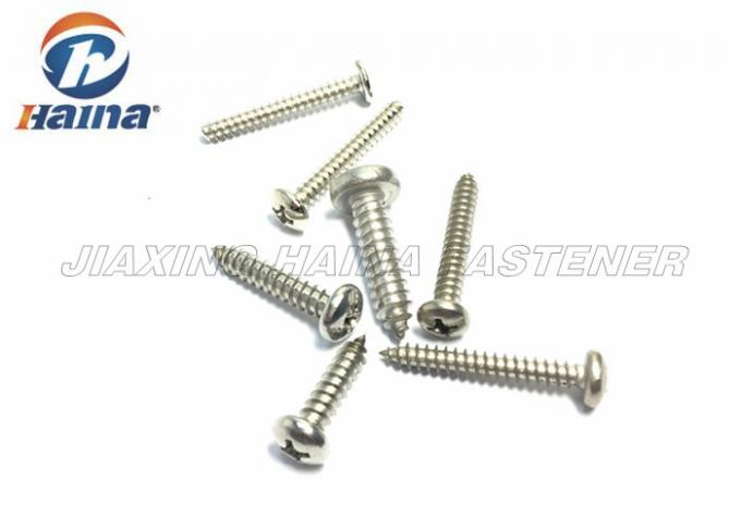 Cross Slotted Pan Head Sheet Metal Screws , Stainless Steel Self Drilling Screws DIN 7981